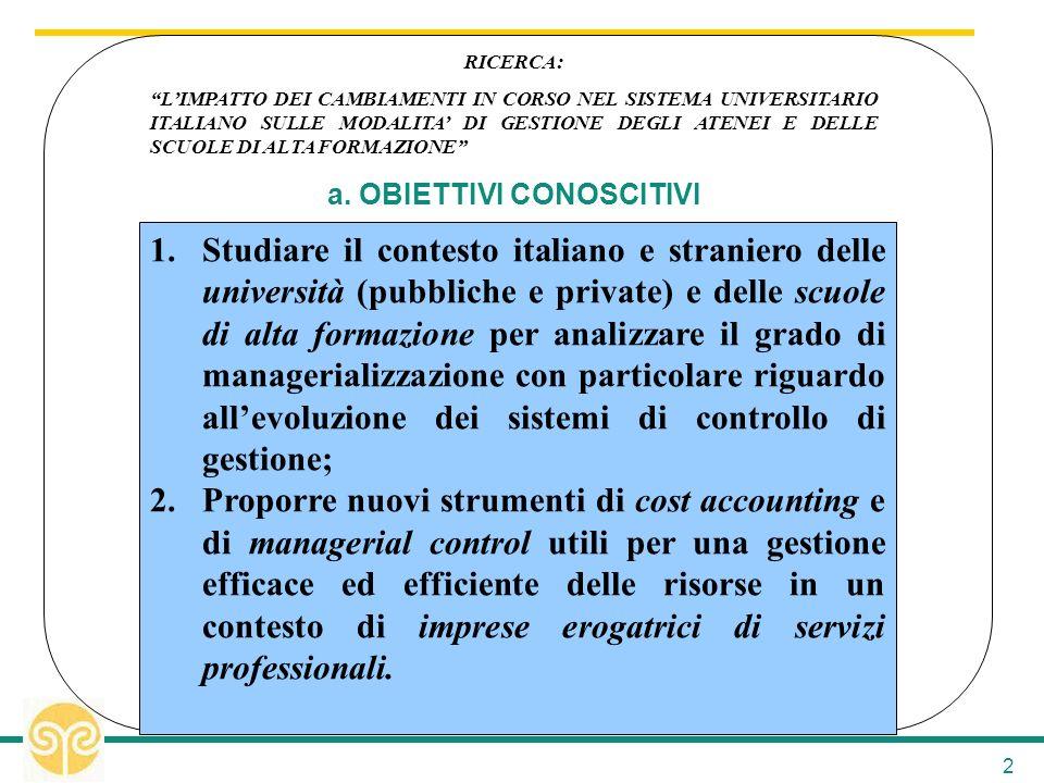 2 1.Studiare il contesto italiano e straniero delle università (pubbliche e private) e delle scuole di alta formazione per analizzare il grado di mana