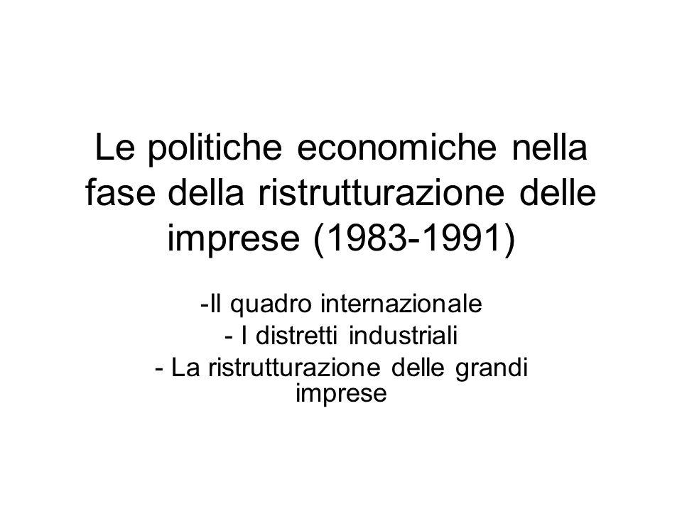 Le politiche economiche nella fase della ristrutturazione delle imprese (1983-1991) -Il quadro internazionale - I distretti industriali - La ristruttu