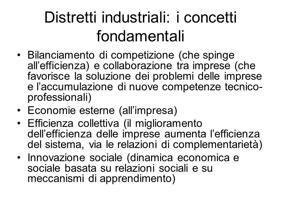 Distretti industriali: i concetti fondamentali Bilanciamento di competizione (che spinge allefficienza) e collaborazione tra imprese (che favorisce la