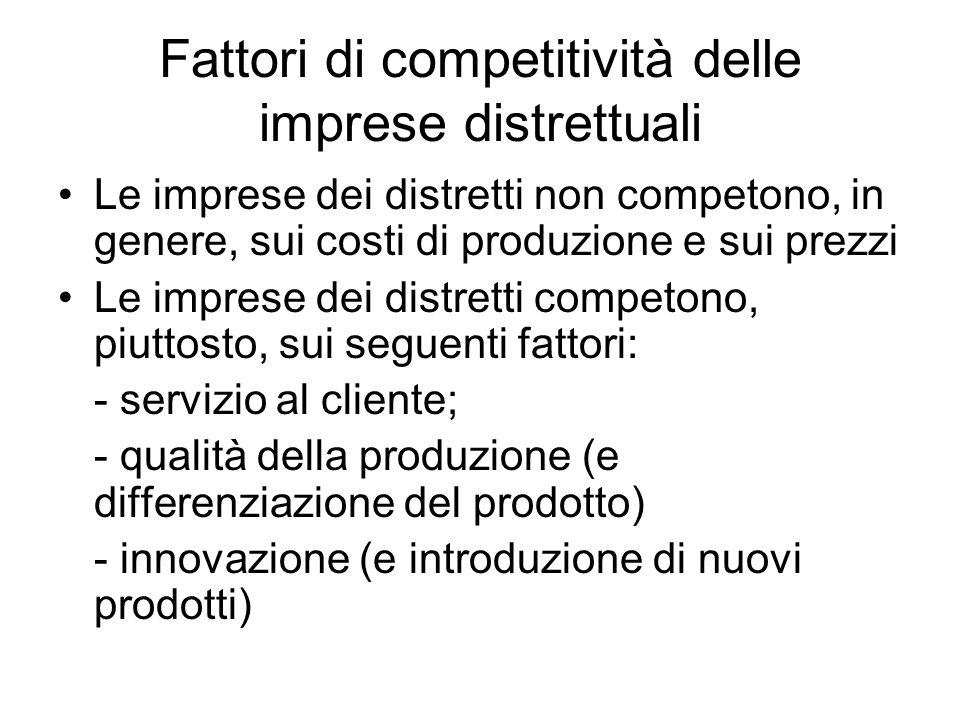 Fattori di competitività delle imprese distrettuali Le imprese dei distretti non competono, in genere, sui costi di produzione e sui prezzi Le imprese