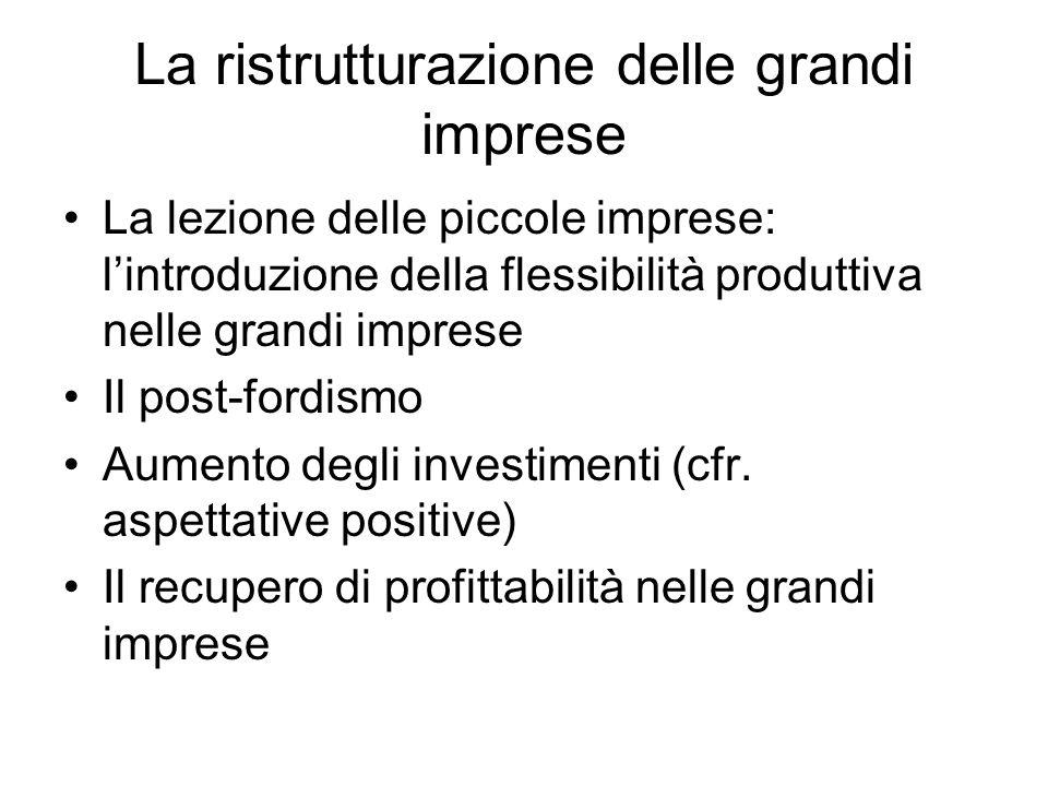 La ristrutturazione delle grandi imprese La lezione delle piccole imprese: lintroduzione della flessibilità produttiva nelle grandi imprese Il post-fo