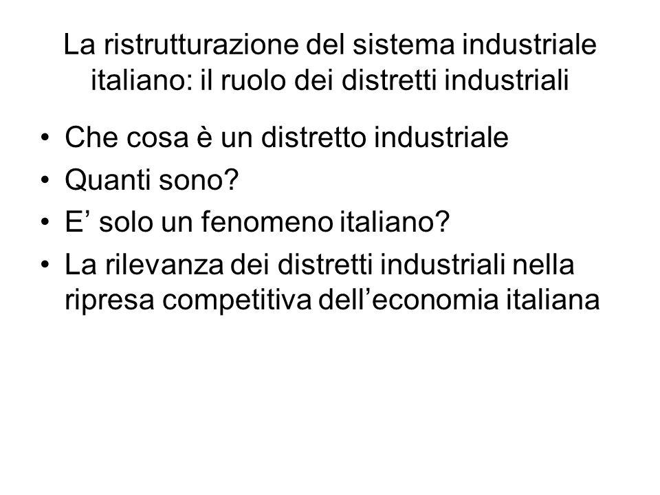La ristrutturazione del sistema industriale italiano: il ruolo dei distretti industriali Che cosa è un distretto industriale Quanti sono? E solo un fe