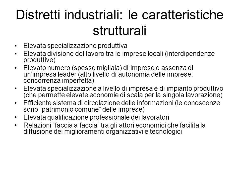 Distretti industriali: le caratteristiche strutturali Elevata specializzazione produttiva Elevata divisione del lavoro tra le imprese locali (interdip
