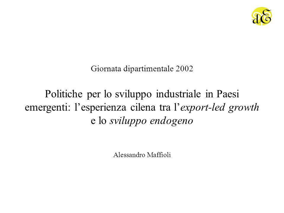 Politiche per lo sviluppo industriale in Paesi emergenti: lesperienza cilena tra lexport-led growth e lo sviluppo endogeno Giornata dipartimentale 2002 Alessandro Maffioli