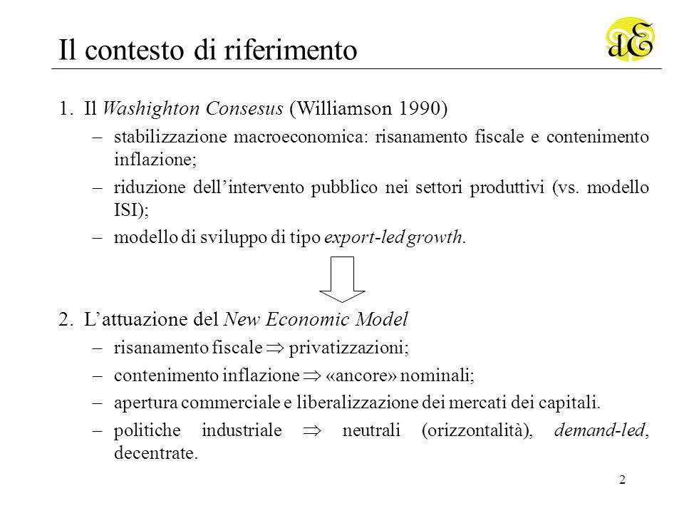 2 Il contesto di riferimento 1.Il Washighton Consesus (Williamson 1990) –stabilizzazione macroeconomica: risanamento fiscale e contenimento inflazione; –riduzione dellintervento pubblico nei settori produttivi (vs.
