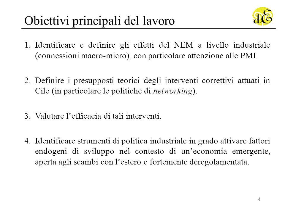 4 Obiettivi principali del lavoro 1.Identificare e definire gli effetti del NEM a livello industriale (connessioni macro-micro), con particolare attenzione alle PMI.