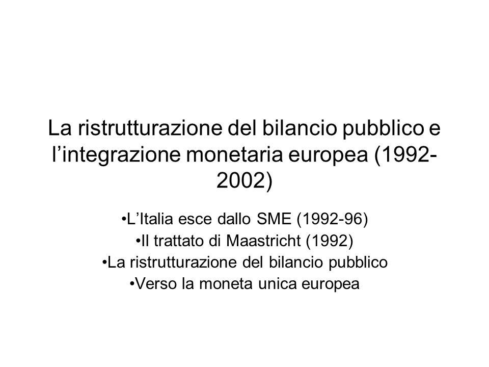 La ristrutturazione del bilancio pubblico e lintegrazione monetaria europea (1992- 2002) LItalia esce dallo SME (1992-96) Il trattato di Maastricht (1