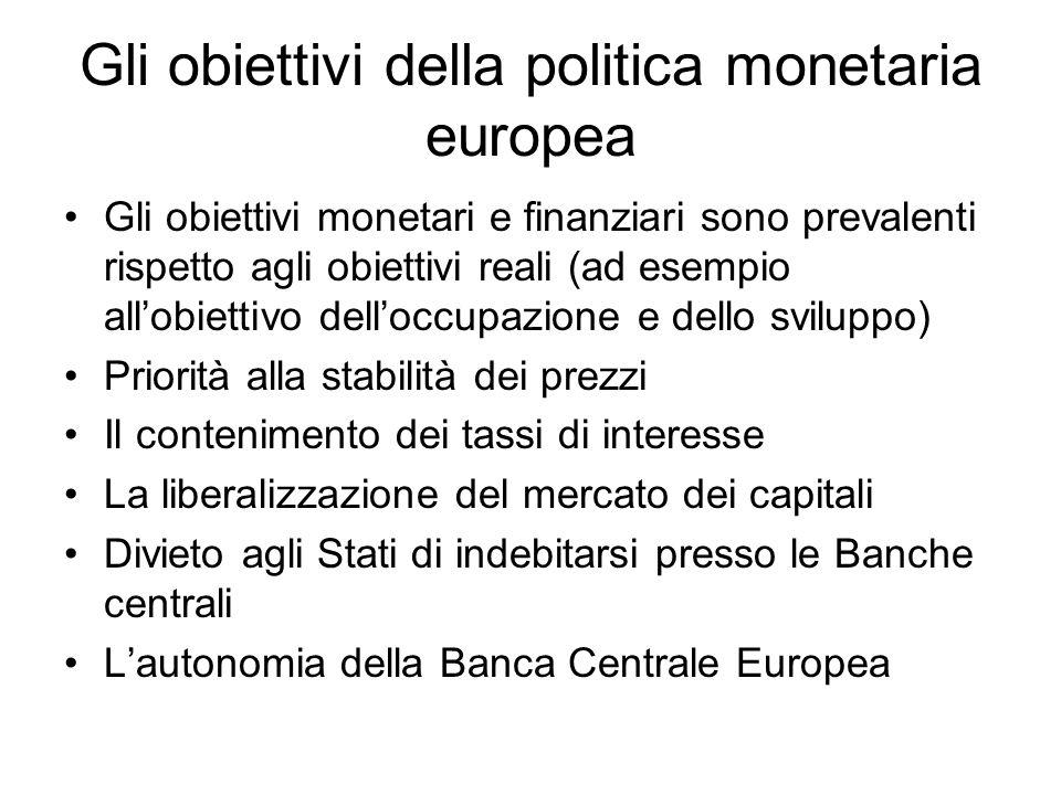 Gli obiettivi della politica monetaria europea Gli obiettivi monetari e finanziari sono prevalenti rispetto agli obiettivi reali (ad esempio allobiett