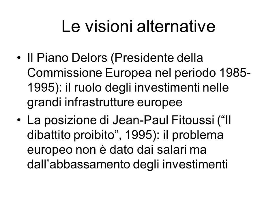 Le visioni alternative Il Piano Delors (Presidente della Commissione Europea nel periodo 1985- 1995): il ruolo degli investimenti nelle grandi infrast