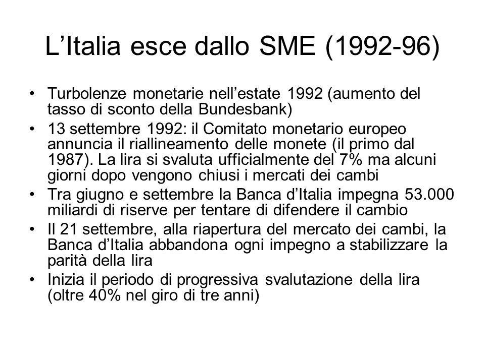 LItalia esce dallo SME (1992-96) Turbolenze monetarie nellestate 1992 (aumento del tasso di sconto della Bundesbank) 13 settembre 1992: il Comitato mo