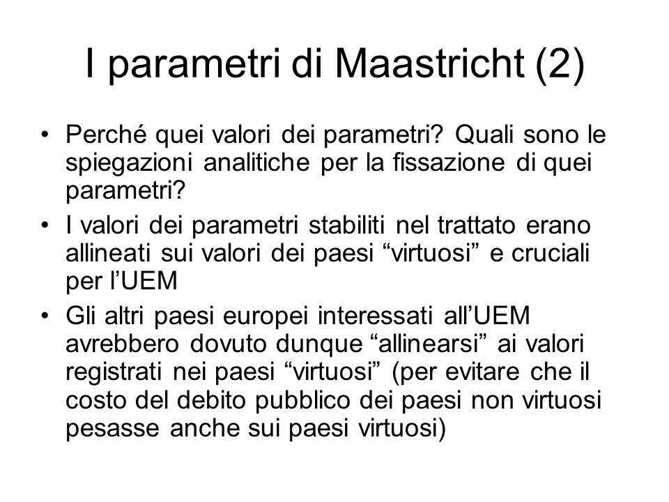 I parametri di Maastricht (2) Perché quei valori dei parametri? Quali sono le spiegazioni analitiche per la fissazione di quei parametri? I valori dei