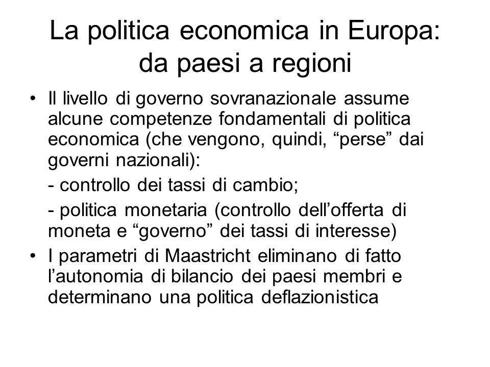 La politica economica in Europa: da paesi a regioni Il livello di governo sovranazionale assume alcune competenze fondamentali di politica economica (