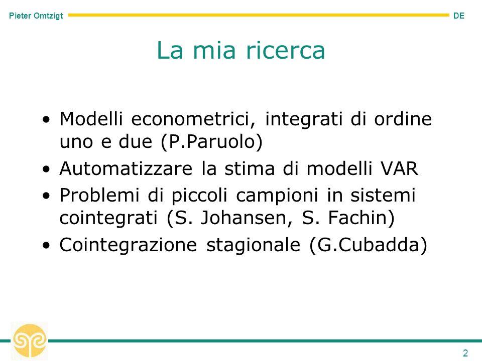 DE Pieter Omtzigt 2 La mia ricerca Modelli econometrici, integrati di ordine uno e due (P.Paruolo) Automatizzare la stima di modelli VAR Problemi di piccoli campioni in sistemi cointegrati (S.