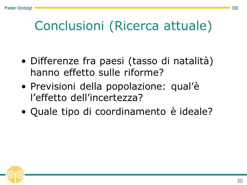 DE Pieter Omtzigt 30 Conclusioni (Ricerca attuale) Differenze fra paesi (tasso di natalità) hanno effetto sulle riforme.