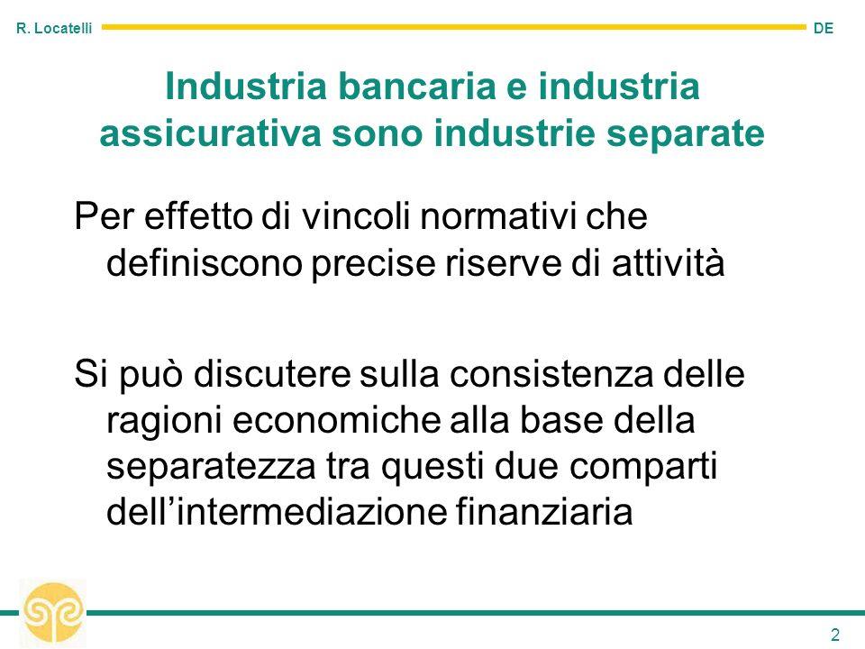 DE R. Locatelli 2 Industria bancaria e industria assicurativa sono industrie separate Per effetto di vincoli normativi che definiscono precise riserve