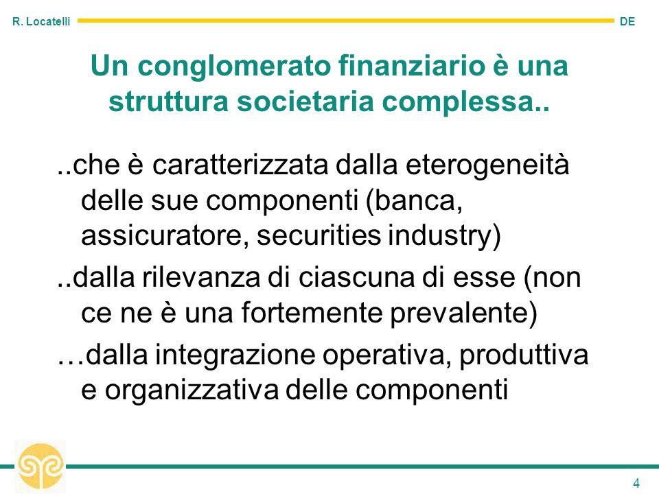 DE R. Locatelli 4 Un conglomerato finanziario è una struttura societaria complessa....che è caratterizzata dalla eterogeneità delle sue componenti (ba