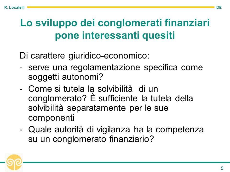 DE R. Locatelli 5 Lo sviluppo dei conglomerati finanziari pone interessanti quesiti Di carattere giuridico-economico: -serve una regolamentazione spec