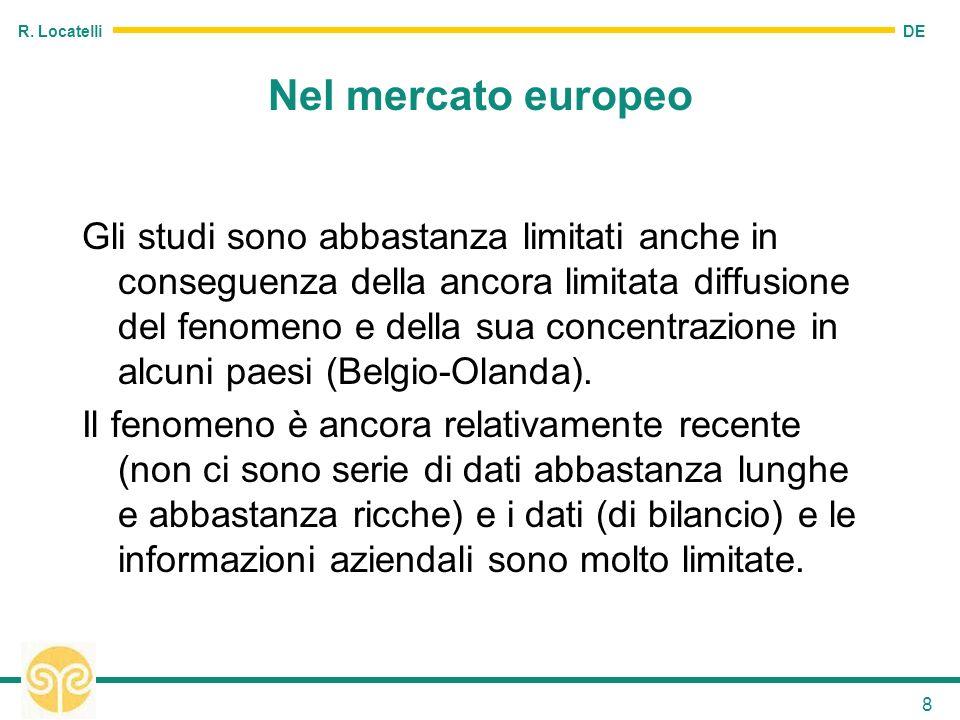 DE R. Locatelli 8 Nel mercato europeo Gli studi sono abbastanza limitati anche in conseguenza della ancora limitata diffusione del fenomeno e della su