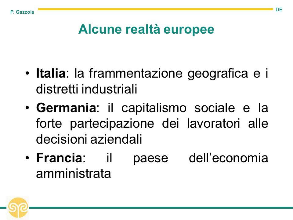 DE P. Gazzola Alcune realtà europee Italia: la frammentazione geografica e i distretti industriali Germania: il capitalismo sociale e la forte parteci