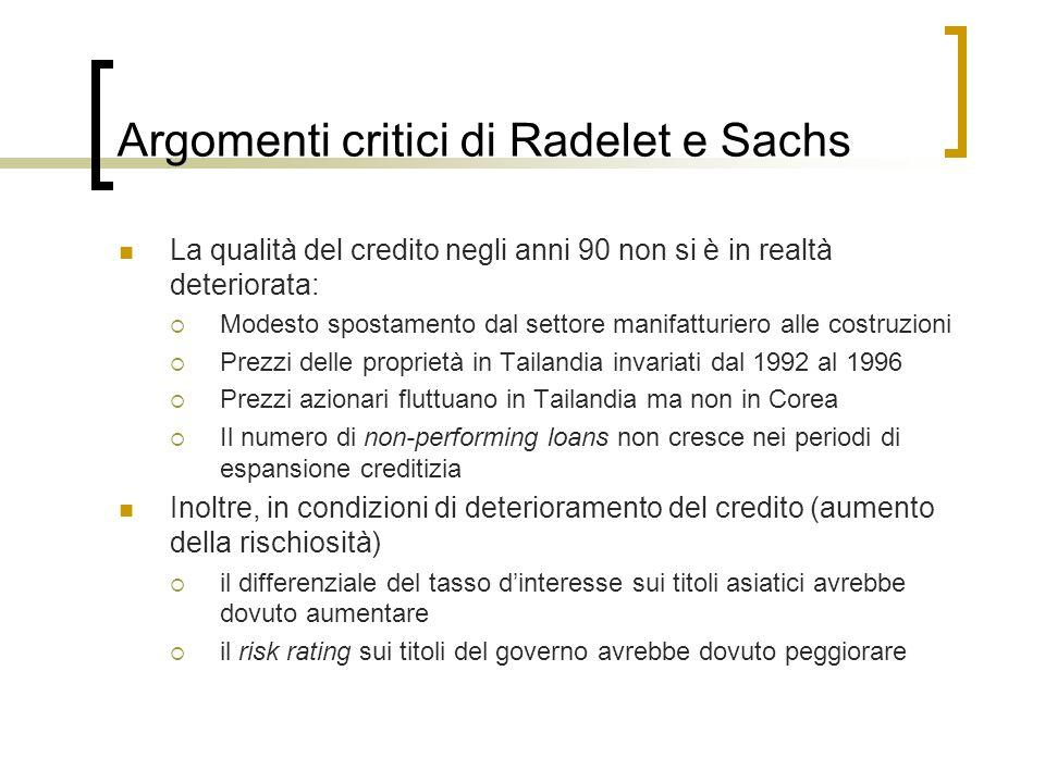 Argomenti critici di Radelet e Sachs La qualità del credito negli anni 90 non si è in realtà deteriorata: Modesto spostamento dal settore manifatturie