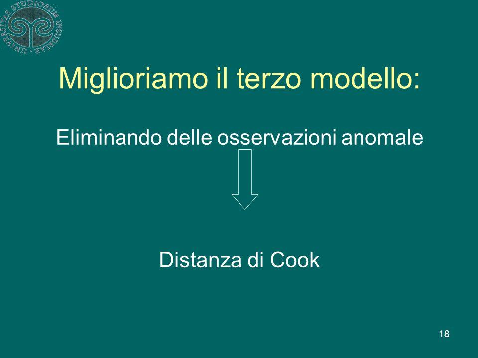 18 Miglioriamo il terzo modello: Eliminando delle osservazioni anomale Distanza di Cook