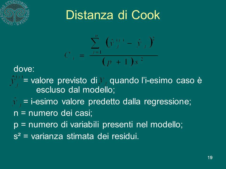 19 Distanza di Cook dove: = valore previsto di quando li-esimo caso è escluso dal modello; = i-esimo valore predetto dalla regressione; n = numero dei casi; p = numero di variabili presenti nel modello; s² = varianza stimata dei residui.