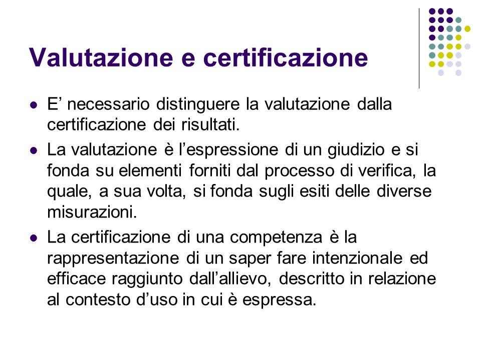 Valutazione e certificazione E necessario distinguere la valutazione dalla certificazione dei risultati. La valutazione è lespressione di un giudizio