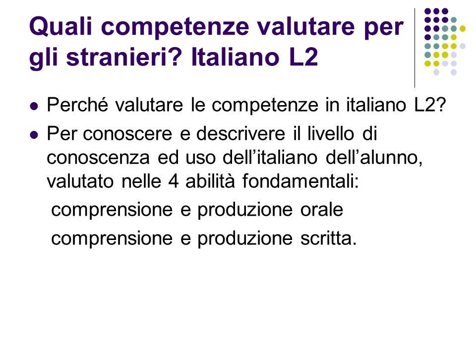 Quali competenze valutare per gli stranieri? Italiano L2 Perché valutare le competenze in italiano L2? Per conoscere e descrivere il livello di conosc