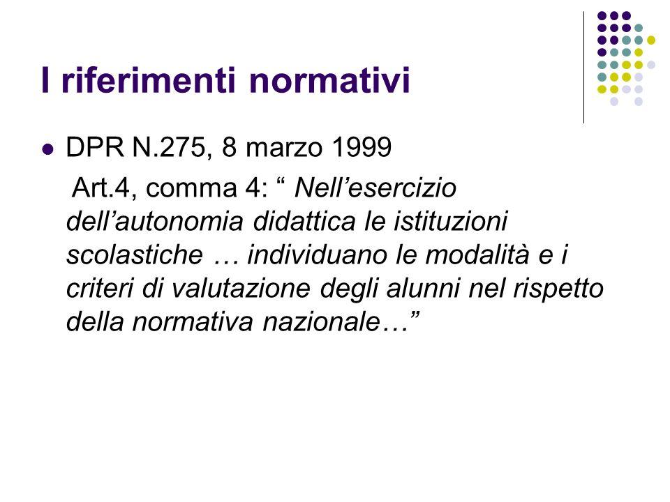 I riferimenti normativi DPR N.275, 8 marzo 1999 Art.4, comma 4: Nellesercizio dellautonomia didattica le istituzioni scolastiche … individuano le moda