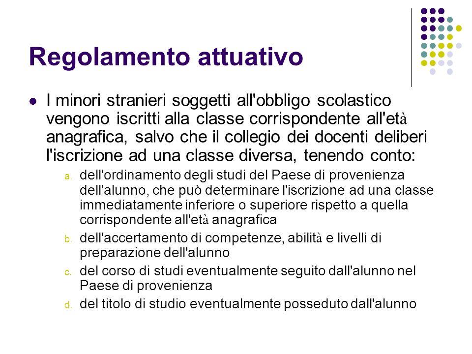 Regolamento attuativo I minori stranieri soggetti all'obbligo scolastico vengono iscritti alla classe corrispondente all'et à anagrafica, salvo che il