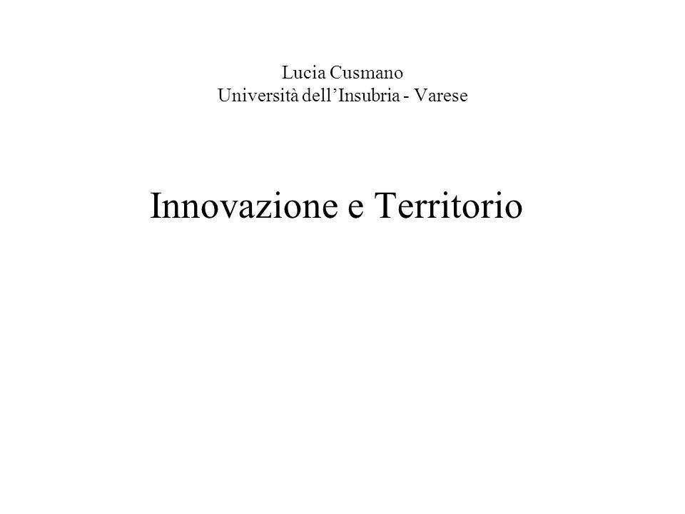 Lucia Cusmano Università dellInsubria - Varese Innovazione e Territorio