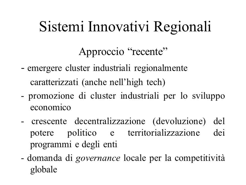 Sistemi Innovativi Regionali Approccio recente - emergere cluster industriali regionalmente caratterizzati (anche nellhigh tech) - promozione di cluster industriali per lo sviluppo economico - crescente decentralizzazione (devoluzione) del potere politico e territorializzazione dei programmi e degli enti - domanda di governance locale per la competitività globale