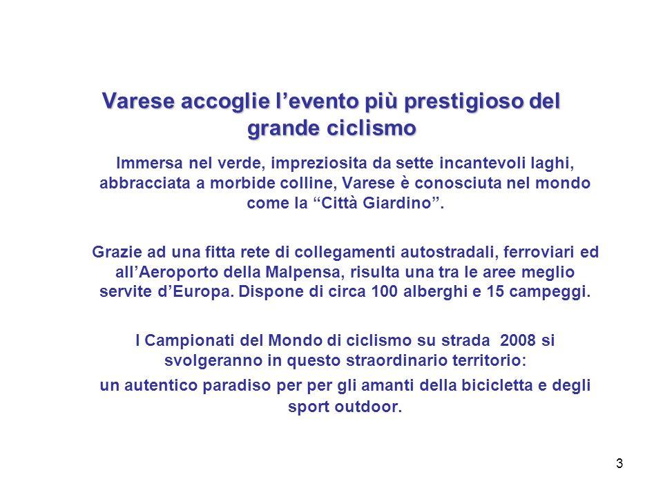 3 Varese accoglie levento più prestigioso del grande ciclismo Immersa nel verde, impreziosita da sette incantevoli laghi, abbracciata a morbide colline, Varese è conosciuta nel mondo come la Città Giardino.