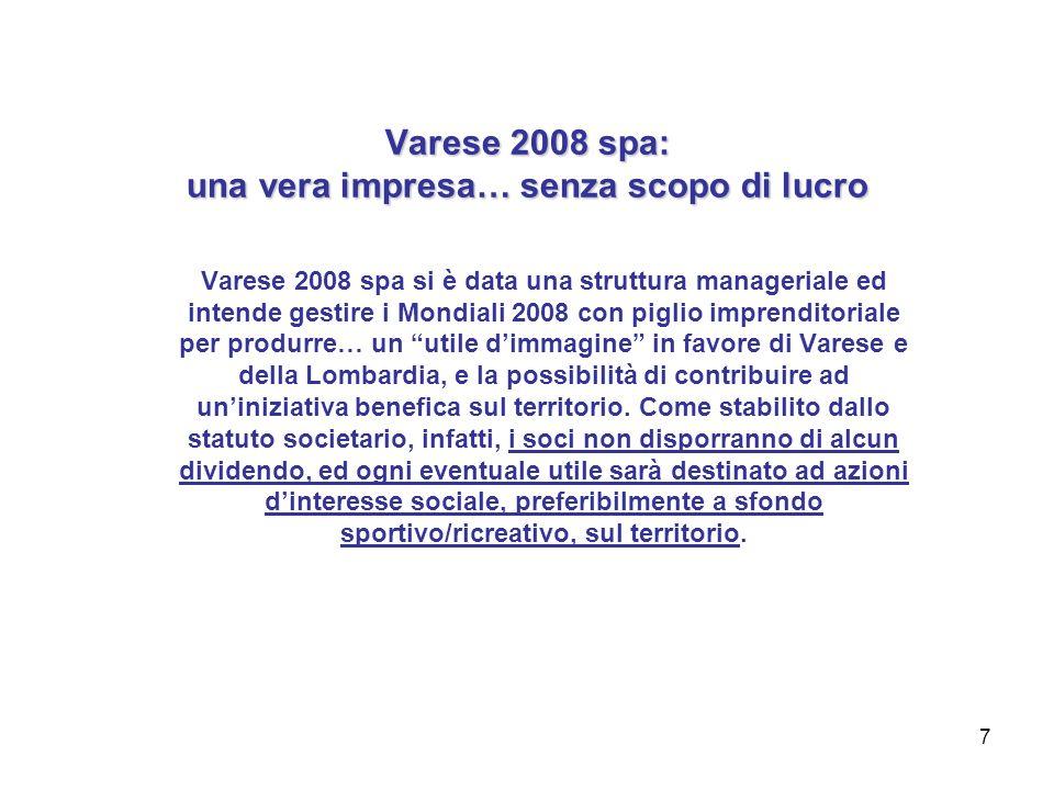 7 Varese 2008 spa: una vera impresa… senza scopo di lucro Varese 2008 spa si è data una struttura manageriale ed intende gestire i Mondiali 2008 con p