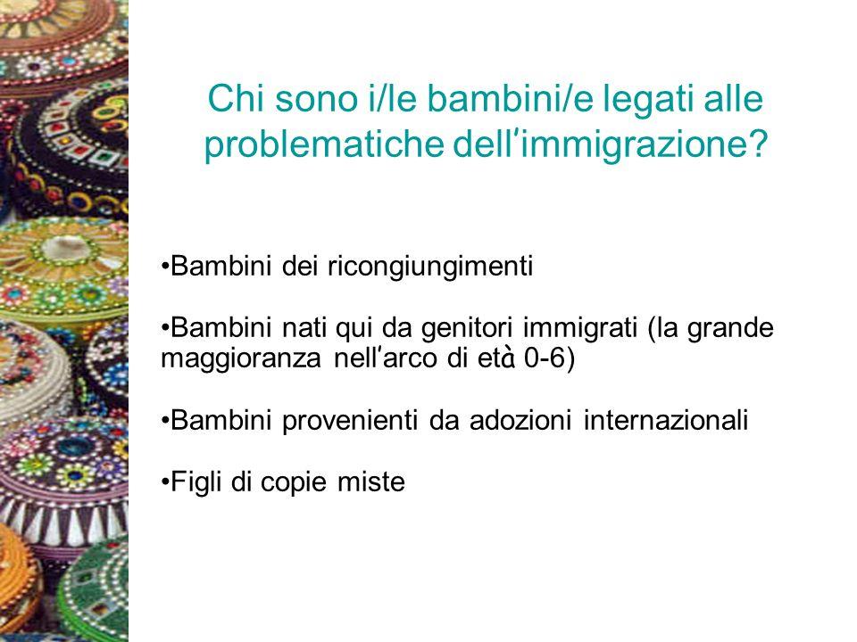 Chi sono i/le bambini/e legati alle problematiche dell immigrazione? Bambini dei ricongiungimenti Bambini nati qui da genitori immigrati (la grande ma