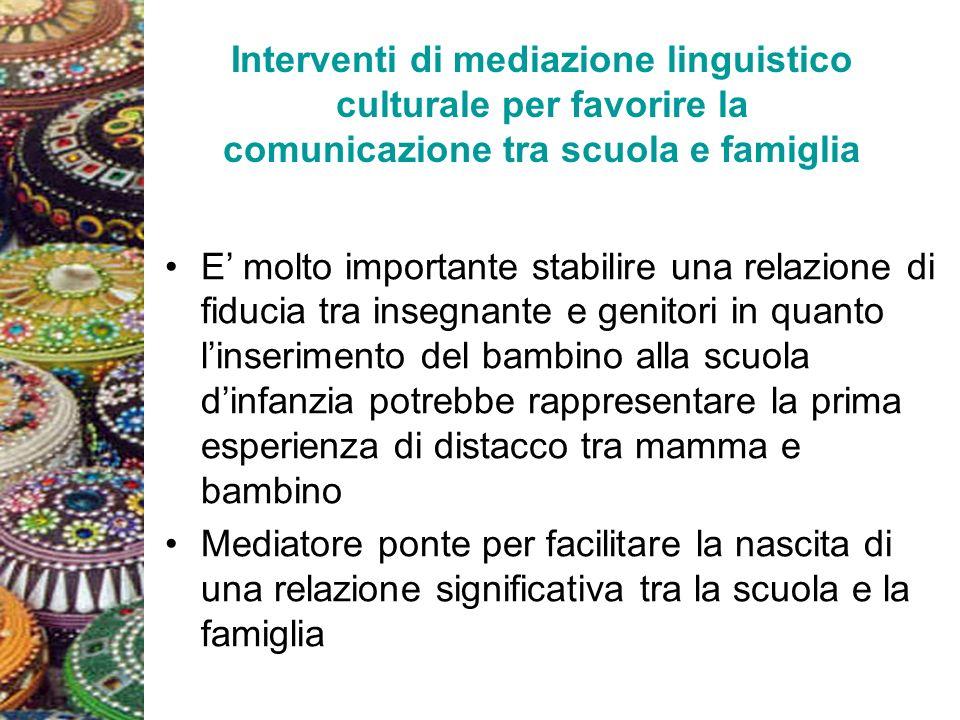 Interventi di mediazione linguistico culturale per favorire la comunicazione tra scuola e famiglia E molto importante stabilire una relazione di fiduc
