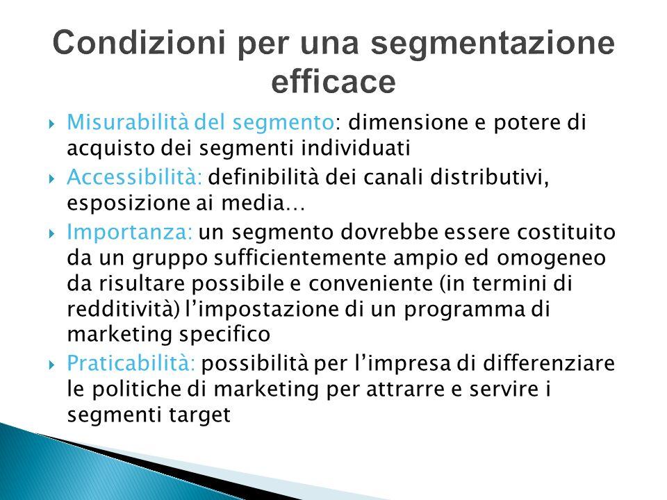 Misurabilità del segmento: dimensione e potere di acquisto dei segmenti individuati Accessibilità: definibilità dei canali distributivi, esposizione a