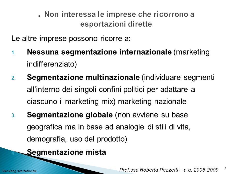 Marketing Internazionale3 La segmentazione multinazionale Attiene: Scelta dei paesi in cui operare (ovvero macrosegmentazione) Scelta dei sub-mercati da seguire e servire (microsegmentazione) Quando si usa.
