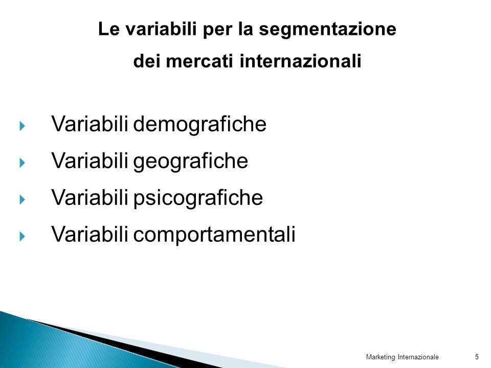 Marketing Internazionale5 Le variabili per la segmentazione dei mercati internazionali Variabili demografiche Variabili geografiche Variabili psicogra