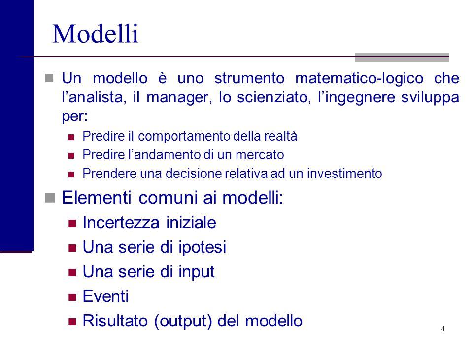 4 Modelli Un modello è uno strumento matematico-logico che lanalista, il manager, lo scienziato, lingegnere sviluppa per: Predire il comportamento della realtà Predire landamento di un mercato Prendere una decisione relativa ad un investimento Elementi comuni ai modelli: Incertezza iniziale Una serie di ipotesi Una serie di input Eventi Risultato (output) del modello
