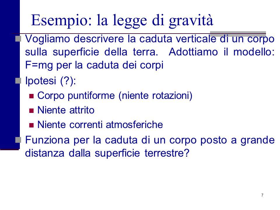 7 Esempio: la legge di gravità Vogliamo descrivere la caduta verticale di un corpo sulla superficie della terra.