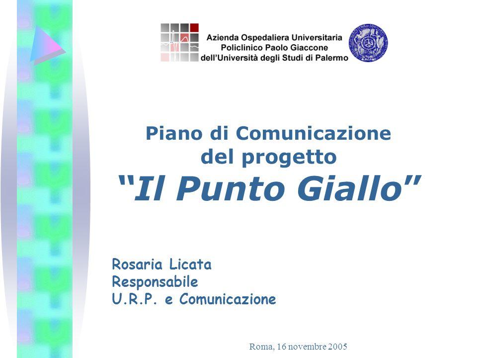 Roma, 16 novembre 2005 PROGETTO IL PUNTO GIALLO Piano di comunicazione per la realizzazione di centri di prenotazione dipartimentali al Policlinico di Palermo