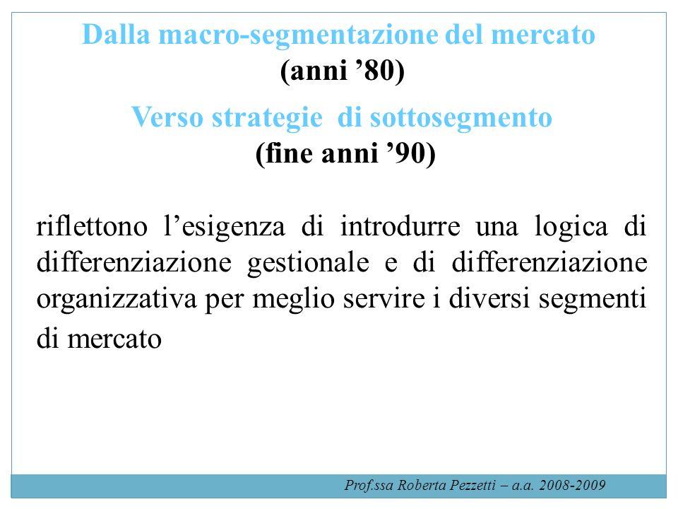 Dalla macro-segmentazione del mercato (anni 80) Verso strategie di sottosegmento (fine anni 90) riflettono lesigenza di introdurre una logica di differenziazione gestionale e di differenziazione organizzativa per meglio servire i diversi segmenti di mercato