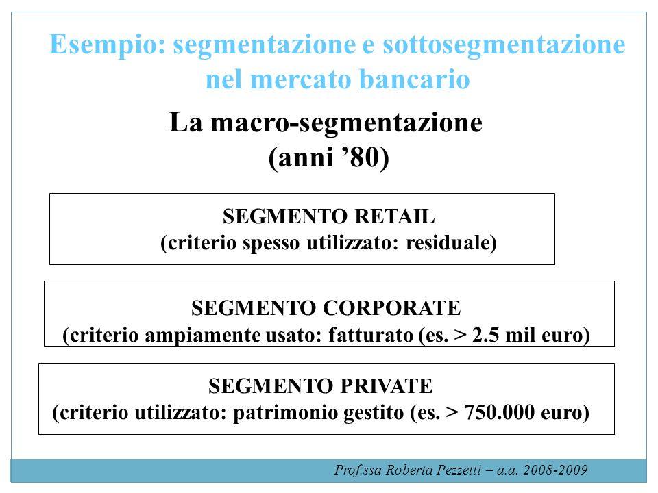 Prof.ssa Roberta Pezzetti – a.a. 2008-2009 Esempio: segmentazione e sottosegmentazione nel mercato bancario SEGMENTO RETAIL (criterio spesso utilizzat