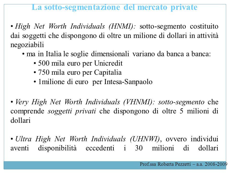 La sotto-segmentazione del mercato private High Net Worth Individuals (HNMI): sotto-segmento costituito dai soggetti che dispongono di oltre un milione di dollari in attività negoziabili ma in Italia le soglie dimensionali variano da banca a banca: 500 mila euro per Unicredit 750 mila euro per Capitalia 1milione di euro per Intesa-Sanpaolo Very High Net Worth Individuals (VHNMI): sotto-segmento che comprende soggetti privati che dispongono di oltre 5 milioni di dollari Ultra High Net Worth Individuals (UHNWI), ovvero individui aventi disponibilità eccedenti i 30 milioni di dollari Prof.ssa Roberta Pezzetti – a.a.