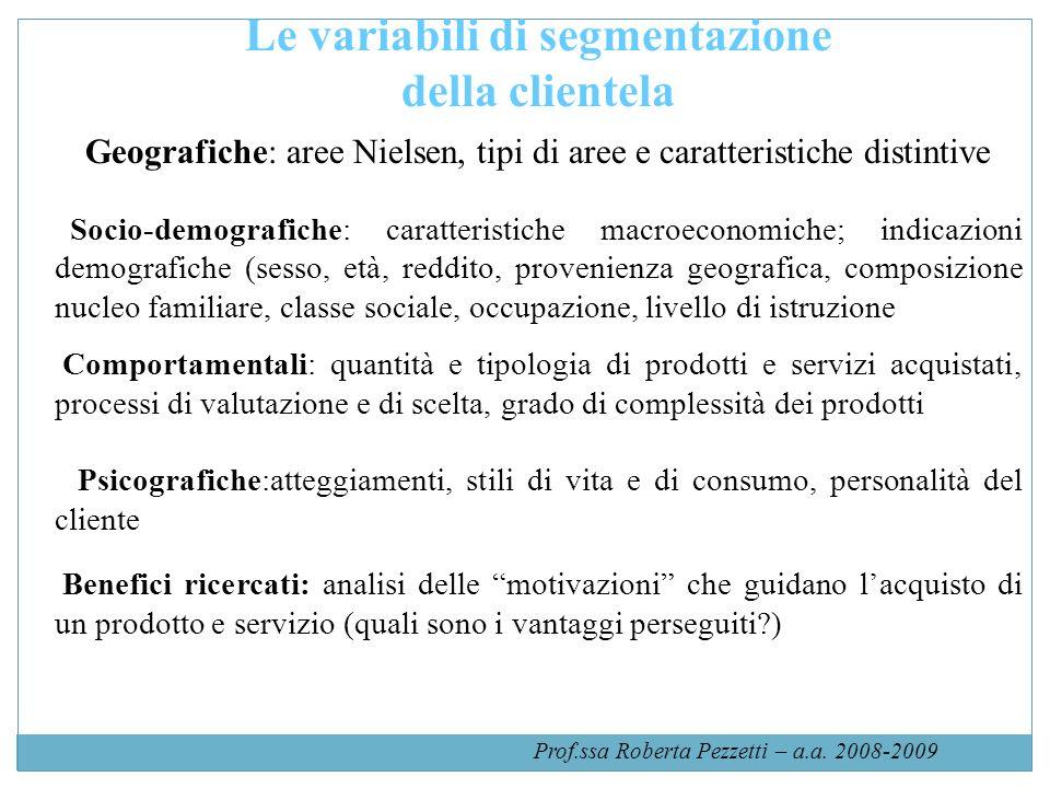 Prof.ssa Roberta Pezzetti – a.a. 2008-2009 Le variabili di segmentazione della clientela Geografiche: aree Nielsen, tipi di aree e caratteristiche dis
