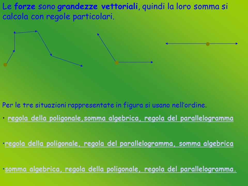 Le forze sono grandezze vettoriali, quindi la loro somma si calcola con regole particolari.