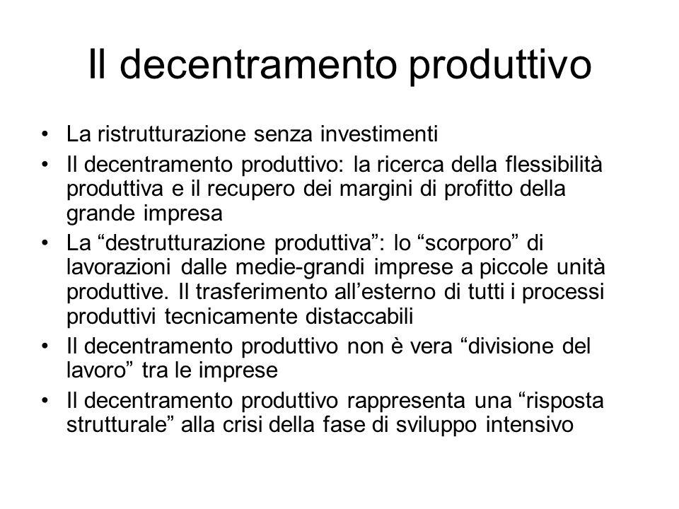 Il decentramento produttivo La ristrutturazione senza investimenti Il decentramento produttivo: la ricerca della flessibilità produttiva e il recupero dei margini di profitto della grande impresa La destrutturazione produttiva: lo scorporo di lavorazioni dalle medie-grandi imprese a piccole unità produttive.