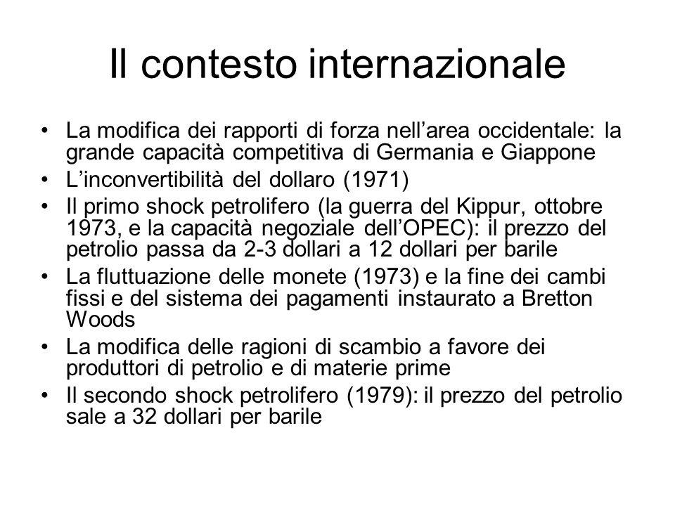 Il contesto internazionale La modifica dei rapporti di forza nellarea occidentale: la grande capacità competitiva di Germania e Giappone Linconvertibilità del dollaro (1971) Il primo shock petrolifero (la guerra del Kippur, ottobre 1973, e la capacità negoziale dellOPEC): il prezzo del petrolio passa da 2-3 dollari a 12 dollari per barile La fluttuazione delle monete (1973) e la fine dei cambi fissi e del sistema dei pagamenti instaurato a Bretton Woods La modifica delle ragioni di scambio a favore dei produttori di petrolio e di materie prime Il secondo shock petrolifero (1979): il prezzo del petrolio sale a 32 dollari per barile