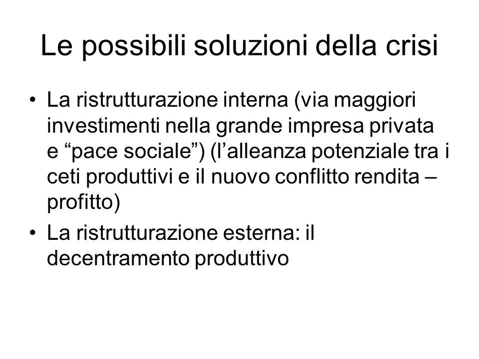 Le possibili soluzioni della crisi La ristrutturazione interna (via maggiori investimenti nella grande impresa privata e pace sociale) (lalleanza potenziale tra i ceti produttivi e il nuovo conflitto rendita – profitto) La ristrutturazione esterna: il decentramento produttivo